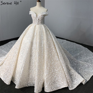 Image 3 - Sequined Sparkle Off Shoulder Bride Gown 2020 Ivory Luxury Vintage Sleeveless Sexy Wedding Dresses BHA2317 Couture Dress