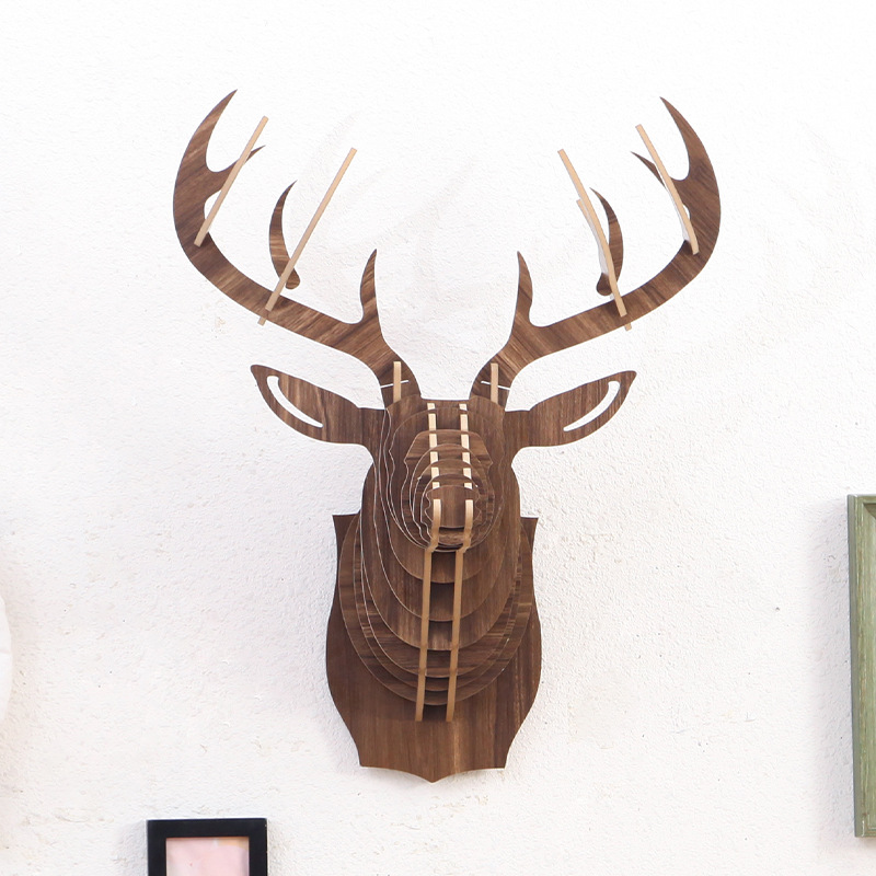3D Deer Head Wood Statue 62x52cm Handicraft Assemble Sculpture Home Decoration Accessories Hanging Statues Party Wall Decor