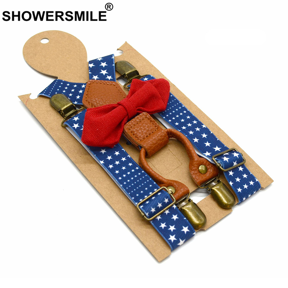 SHOWERSMILE  Bow Tie Suspenders Boy Elastic Designer Suspenders 4 Clips Children Y Back Stars Pattern Blue Party Kid Pants Strap