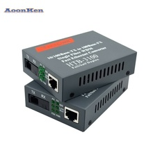 HTB-3100 1 Pair Optical Fiber Media Converter Fiber Transceiver Single Fiber Converter 25km SC 10/100M Single mode Single Fiber