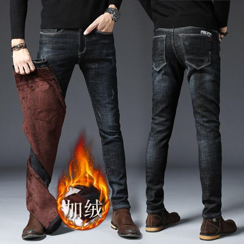 Jeans Men's Winter Brushed And Thick Pants Men's Korean-style Trend Casual Versatile Skinny Slim Fit Men Long Pants