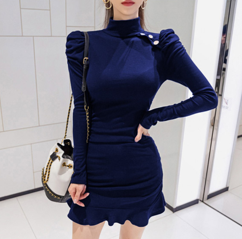 Shirred Flounced Sheath Base Skirt Women's 2019 Fall And Winter Clothes Elegant Slim Fit Jersey Dress Versatile