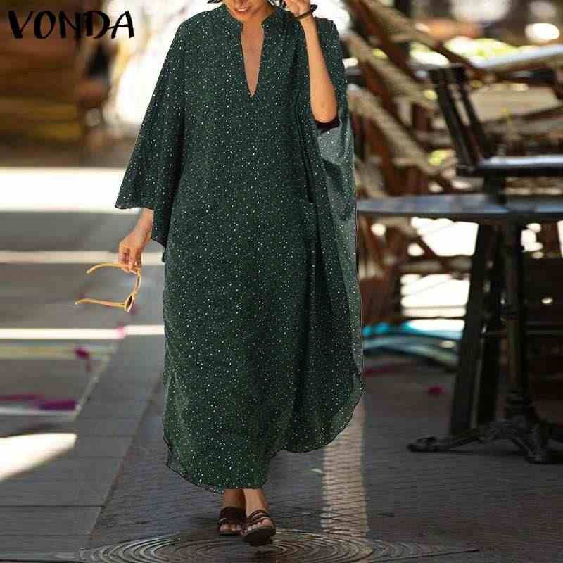 VONDA 2020 Women Loose Dress Sexy V Neck Casual Holiday Party Dresses Vintage Leopard Printed Beach Sundress 5XL Summer Vestidos
