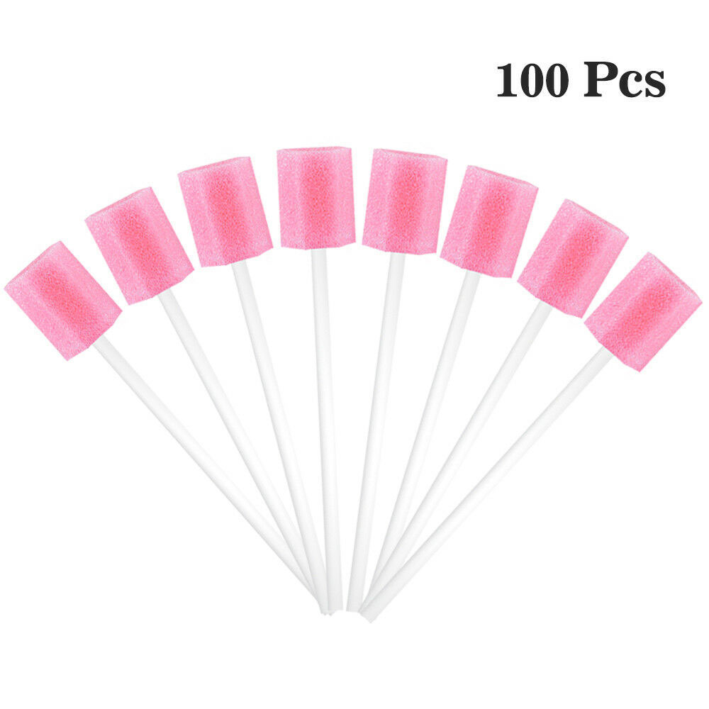 100pcs Disposable Oral Care Sponge Swab Tooth Cleaning Mouth Swabs With Stick Disposable Oral Care Sponge Swab