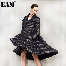 Hem Down-Jacket EAM Spring Asymmetrical Women Parkas Loose Warm Autumn Fashion New Fit
