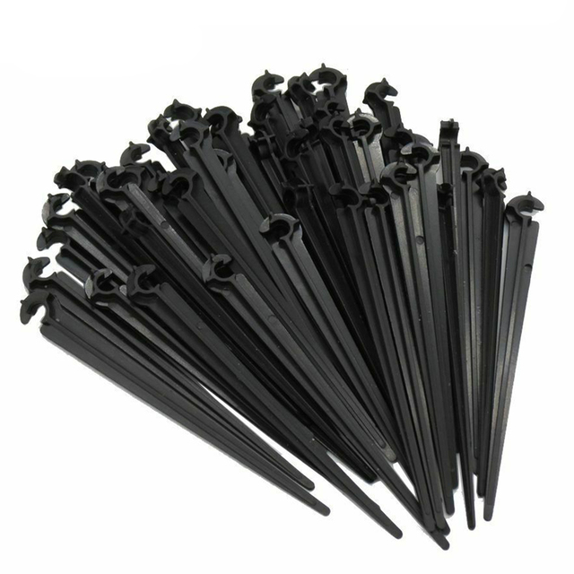 """20 Pcs 1/4"""" Inch Drip Irrigation Hose Pipe Support Bracket Holders Hose pipe C Shape Fixed Stems Holder Garden Irrigation Pipe"""