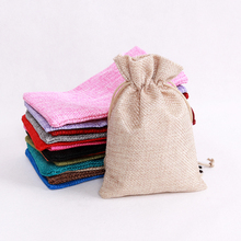 7*9cm Linen Jute Drawstring Gift Bags Sacks Party Favors Packaging Bag Wedding Candy Gift Bags party Supplies 100pcs Wholesale