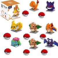 Pokemon blocos crianças pikachu blocos de partículas de diamante brinquedo de quebra-cabeça