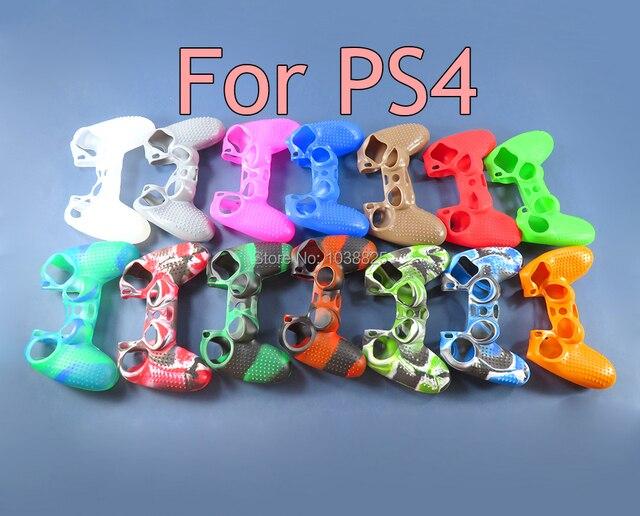 10pcs אנטי להחליק צבעוני סיליקון בקר מקרה עבור Dualshock 4 PS4 DS4 פרו Slim Gamepad עור מקרה בקר