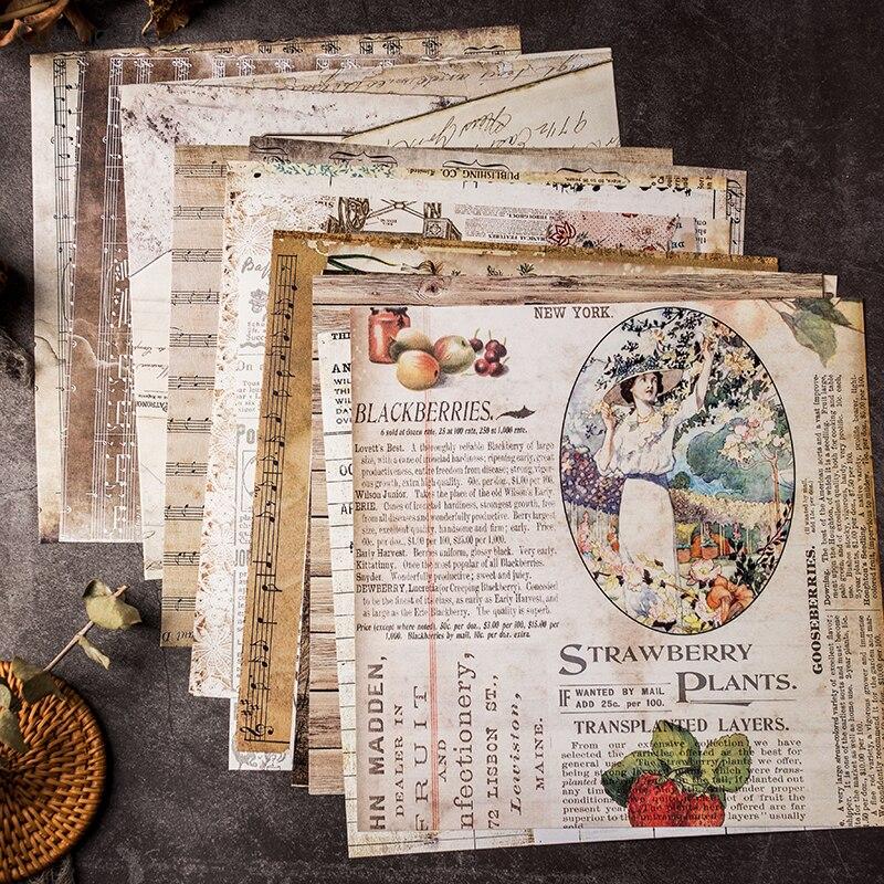 20Pcs/lot 20x20cm Vintage Words Background Scrapbooking Paper Sticker Vellum Paper Card Making Diy Journal Project 4