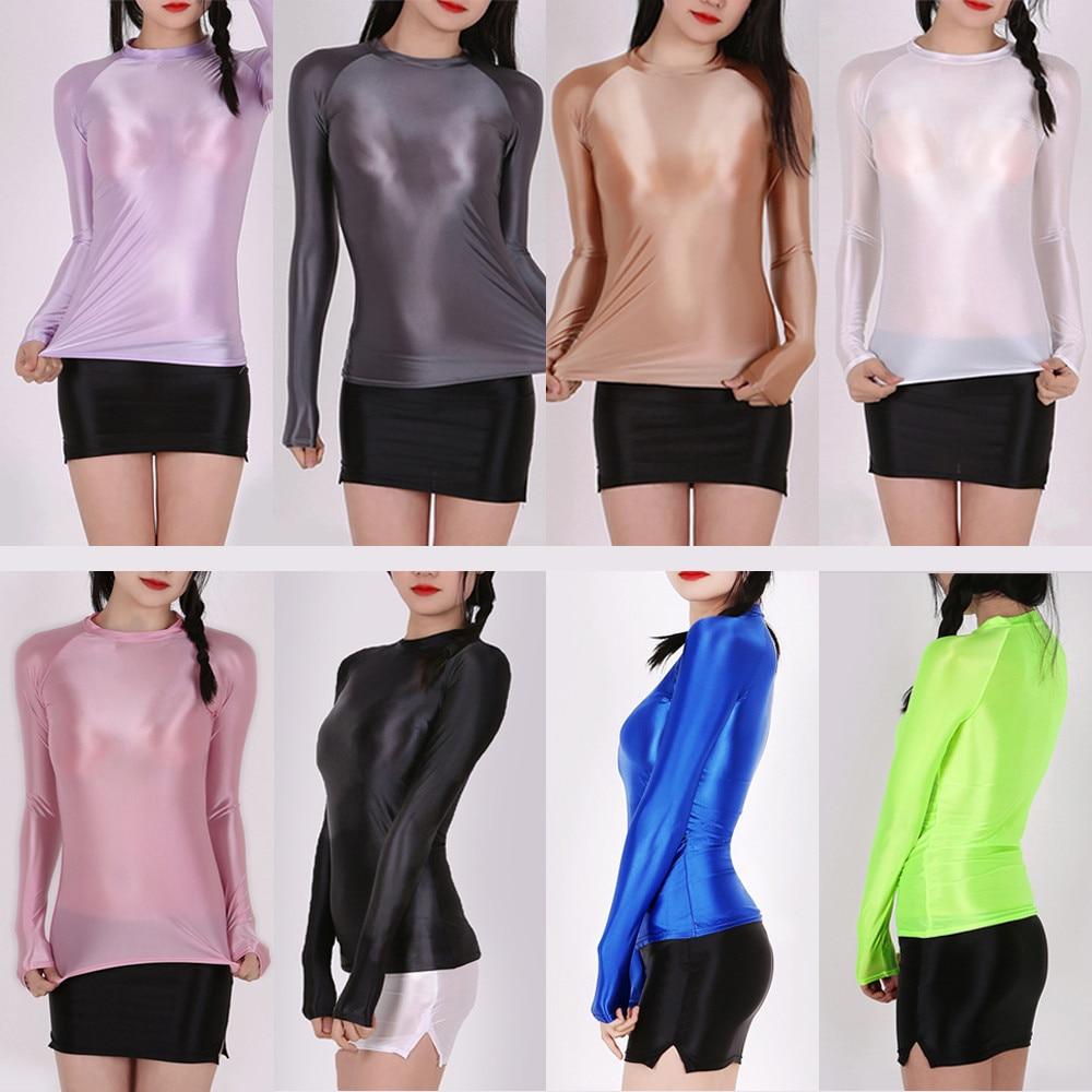 Transparent Glossy Women Clothes Sportswear Leggings Pants Sports Set Gym Seamless Long Sleeve Yoga Shirt Top Fitness Workout
