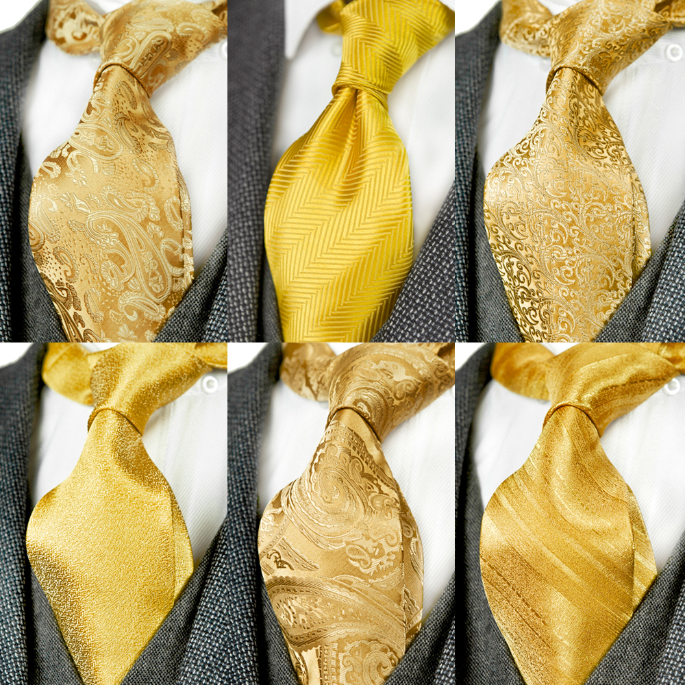 Solid Floral Paisley Yellow Gold Mens Ties Neckties 100% Silk Jacquard Woven Tie Sets Pocket Square Party Wedding Free Shipping