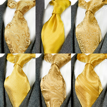 Solid Floral Paisley Yellow Gold Mens Ties Neckties 100% Sil
