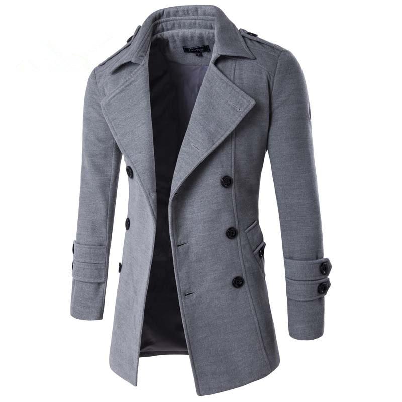 Overcoat men 2019 Solid color badge decoration mens overcoat Casual double-breasted winter coats Black, light gray, dark gray