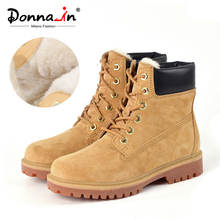 Donna in Casual Women Winter Boots Warm Fur Genuine Leather Women Ankle Boots Platform Heels Boots Female Snow Shoes Size 41 43