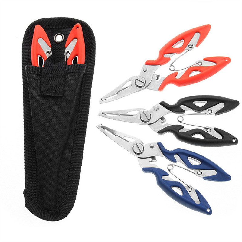 Fishing Plier+Oxford Bag Scissor Braid Line Lure Cutter Hook Remover Tackle Tool Cutting Fish Use Tongs Scissors Fishing Pliers