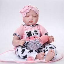 Полноразмерная силиконовая кукла младенец с закрытыми глазами