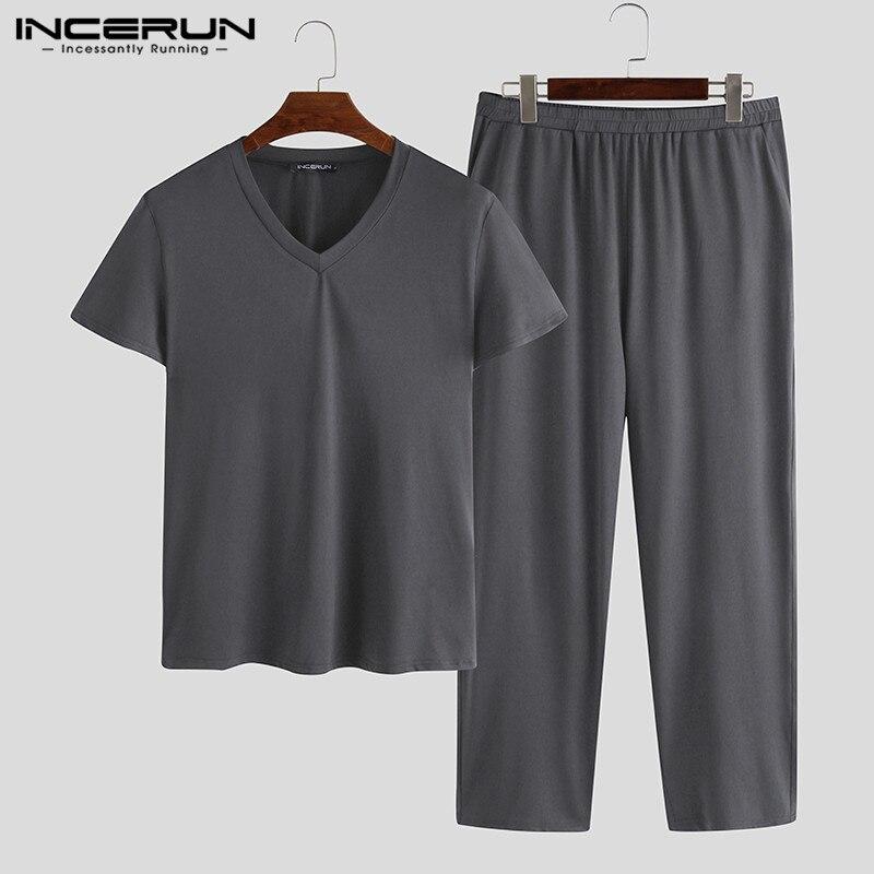 INCERUN Men Pajamas Sets Short Sleeve V Neck Casual Tops & Pants Breathable Homewear Soft Solid Men Pyjamas Sleepwear Suit S-5XL