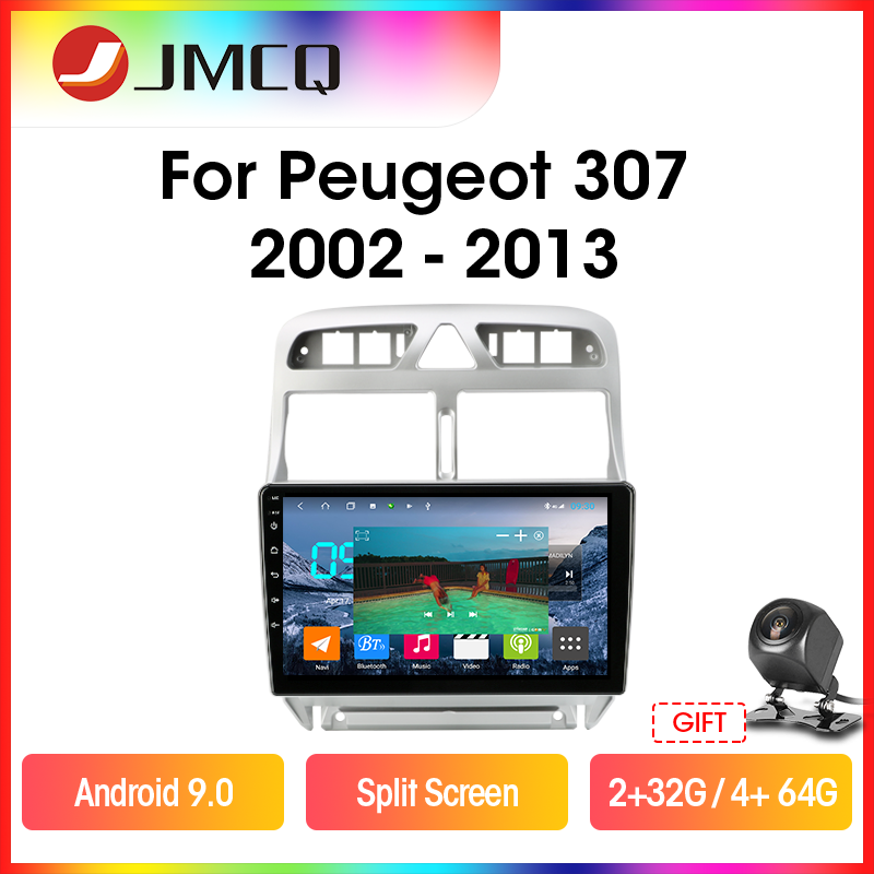 JMCQ Android 9.0 Car <font><b>Radio</b></font> <font><b>For</b></font> <font><b>Peugeot</b></font> <font><b>307</b></font> 2002-2013 Multimidia Video <font><b>2din</b></font> GPS Navigaion Split Screen Floating window with Frame image