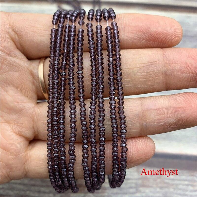 1 нитка 1X2 мм/2X3 мм маленькие хрустальные бусины Rondelle бисер-разделитель маленькие бусины для изготовления ювелирных изделий Diy - Цвет: amethyst
