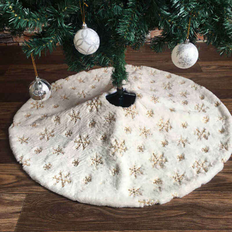 78-122cm Snow Plush Christmas Tree Skirt Base Floor Mat Cover XMAS Party Decor
