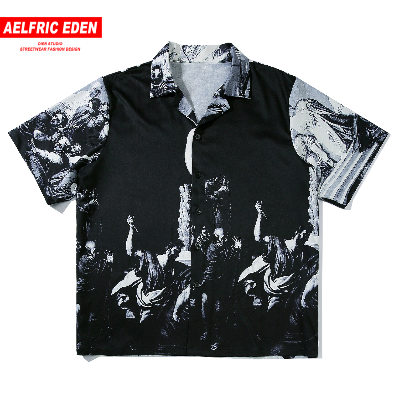 Aelfric Eden  Ancient Painting Print Shirt Men Harajuku Fashion Streetwear Tops Tees 2020 Casual Cotton Loose Male Short Sleeve