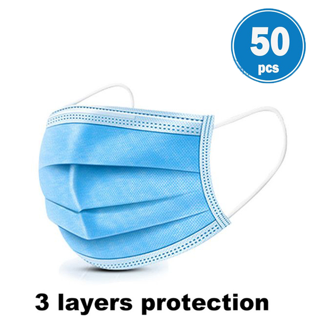 3 Layers Disposable Face Masks Dustproof Protective Cover Bacteria Proof Flu Face Mask Elastic Ear Loop Dust Filter Safe Mask 1