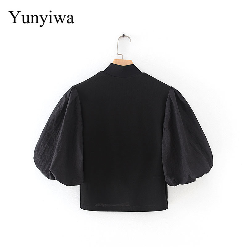 Knitted Splicing Top Womens Blouse Tops Turtleneck Blouses Clothes Blusas Camisas Mujer
