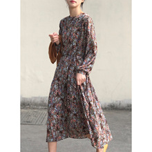 Floral Dress for Women 2021 Spring New French Round Neck Loose Lace-up Large Swing Dress for Women