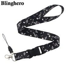 CA96 Blinghero музыкальная нота пианино клавиатура шнурок с принтом на шею ключ ремешок для мобильного телефона для ключей телефона ID держатель для карт 1 шт