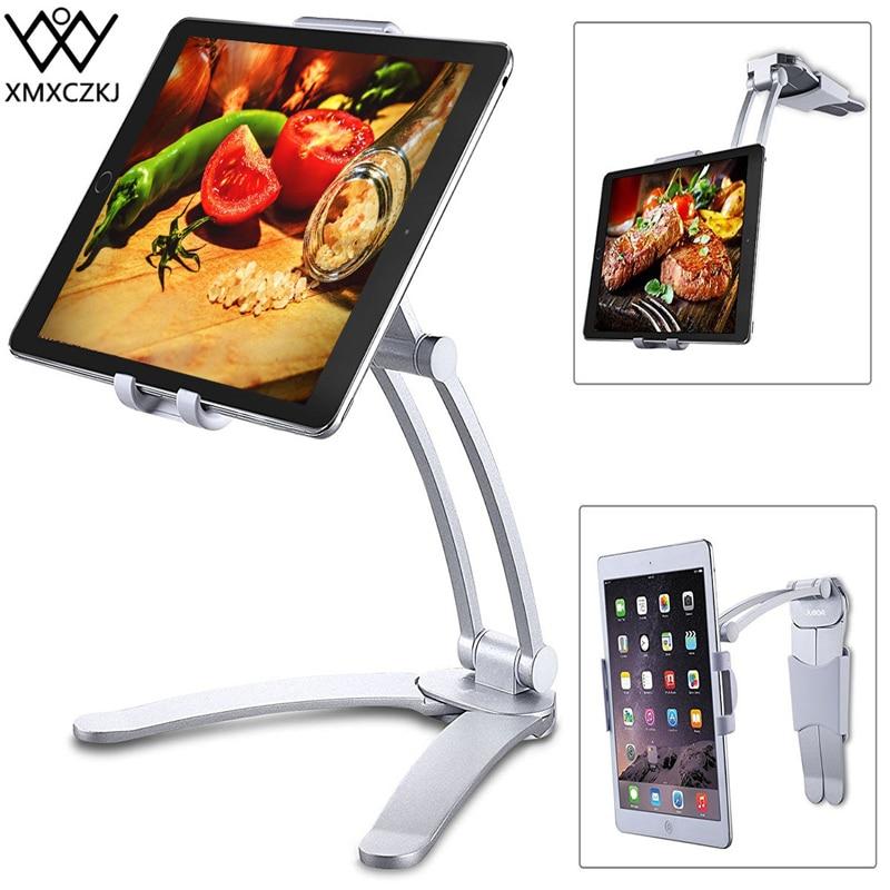 XMXCZKJ Kitchen Tablet Stand Wall Desk Tablet Mount Stand Fit For 5-10.5 Inch Width Tablet  Metal Bracket Smartphones Holders