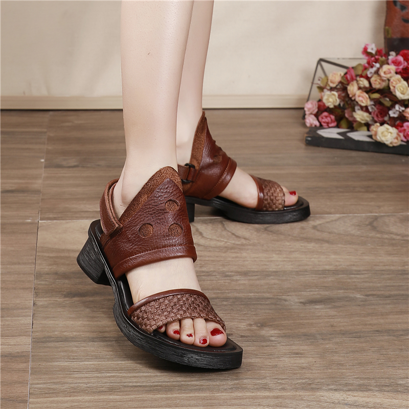 Women Leather Sandals Black Retro Low Heels Summer Shoes For Women Gladiator Sandals Soft Genuine Leather Casual Sandals Brand