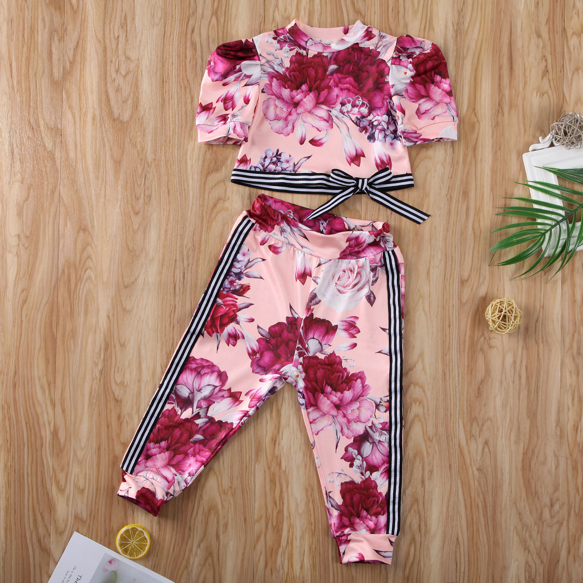 Pudcoco Toddler Baby Girl Clothes Flower Print Short Sleeve Striped Tops Long Pants 2Pcs Outfits Cotton Clothes