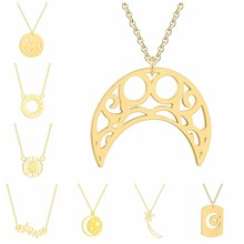Geometric Jewelry Necklace For Women Gold & Silver & Rose Gold Stainless Steel Crescent Moon Star Sun Pendants Necklace(China)