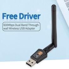 Adapter USB WiFi 2.4G/5GHz 600 mb/s antena WiFi 11AC dwuzakresowy 802.11b/n/g/ac bezprzewodowa karta sieciowa Lan Dongle odbiornik