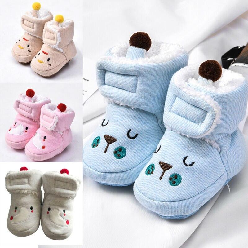 Newborn Baby Toddler Winter Warm Cotton Soft Fur Boots Girl Boy Cartoon Cute Snow Booties Crib Shoes 0-18M