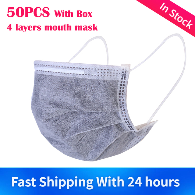 In Stock 50pcs/Box Face Mask 4 Layers Prevent Bacteria Anti Dust Activated Carbon Fliter Proof Flu Mouth Masks Fast Delivery