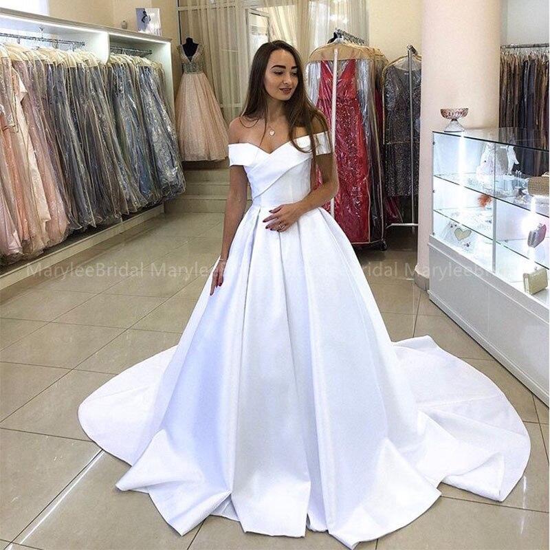 Off Shoulder Princess Ball Gown White Wedding Dresses Vintage Bridal Gowns Simple Champagne Vestidos De Noiva Cheapest