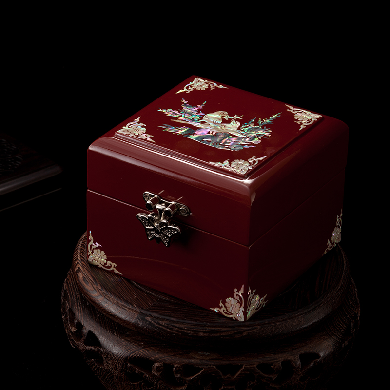 Fait à la main Abalone coquille-linlaid mosaïque boîte à bijoux rangement laque Arts avec serrure 9x9x6.5 cm cadeau de mariage