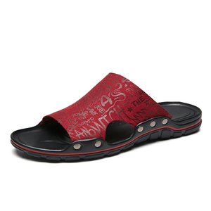 Image 2 - Außerhalb Flache Mikrofaser Männer Leder Hausschuhe Casual Sommer Schuhe Herren Rutschen Sliders Slide Pantoffel 2020 Dropshipping