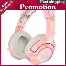 Onikuma K9 Pink Gaming Headphones For Girl Kid Pc Stereo Gaming Headset With Mic & Led Light For Laptop/ Ps4/Xbox One Controller