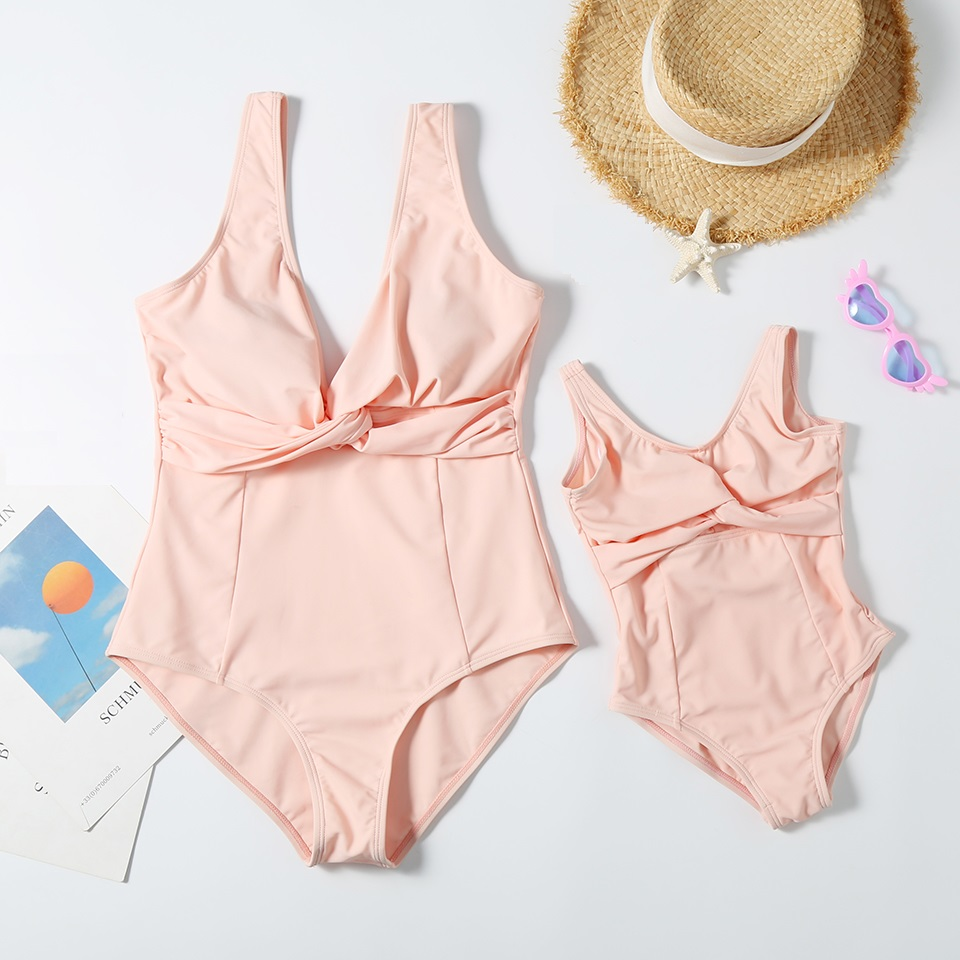 Mother Daughter Matching Bath Suits One-Piece Swimsuit Family Look Mommy And Me Swimwear Mom Baby Women Girls Bikini Clothes