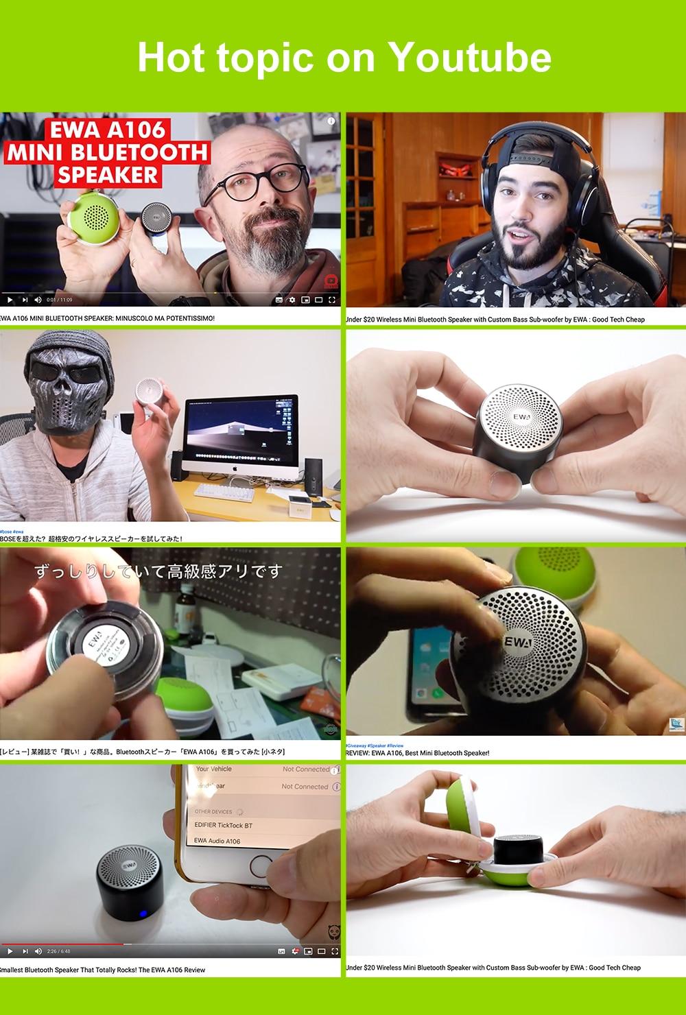 EWA Super-mini Waterproof Bluetooth Speaker 2018 Japan Best Sound/Bass Quality EWA A106 Pro Portable Speaker Bluetooth 5.0