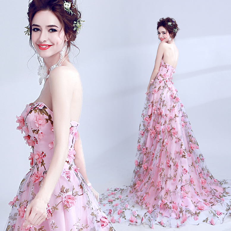 tailor shop handmade flowers pink bride toast clothing dinner annual meeting dress batch evening dress(China)