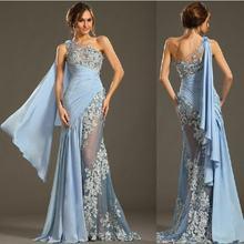 Длинное кружевное платье на одно плечо светильник синие вечерние