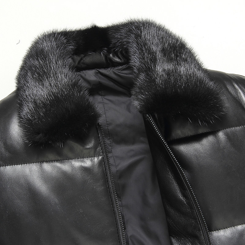 Genuine Sheepskin Leather Jacket Men Mink Fur Collar Autumn Winter Down Coat Mix Geora MG-07-1611 KJ1299