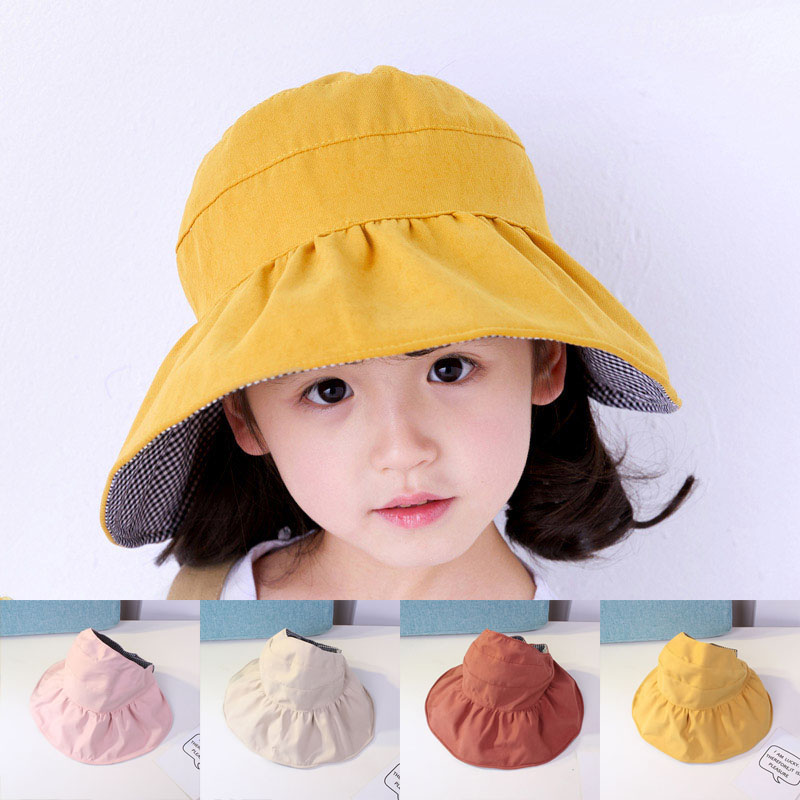 Fashion Girls Solid Color Plaid Hat Casual Outdoor Beach Hat Wide Brim Sun Hat For Kids Summer Empty Top Folding Visor Cap