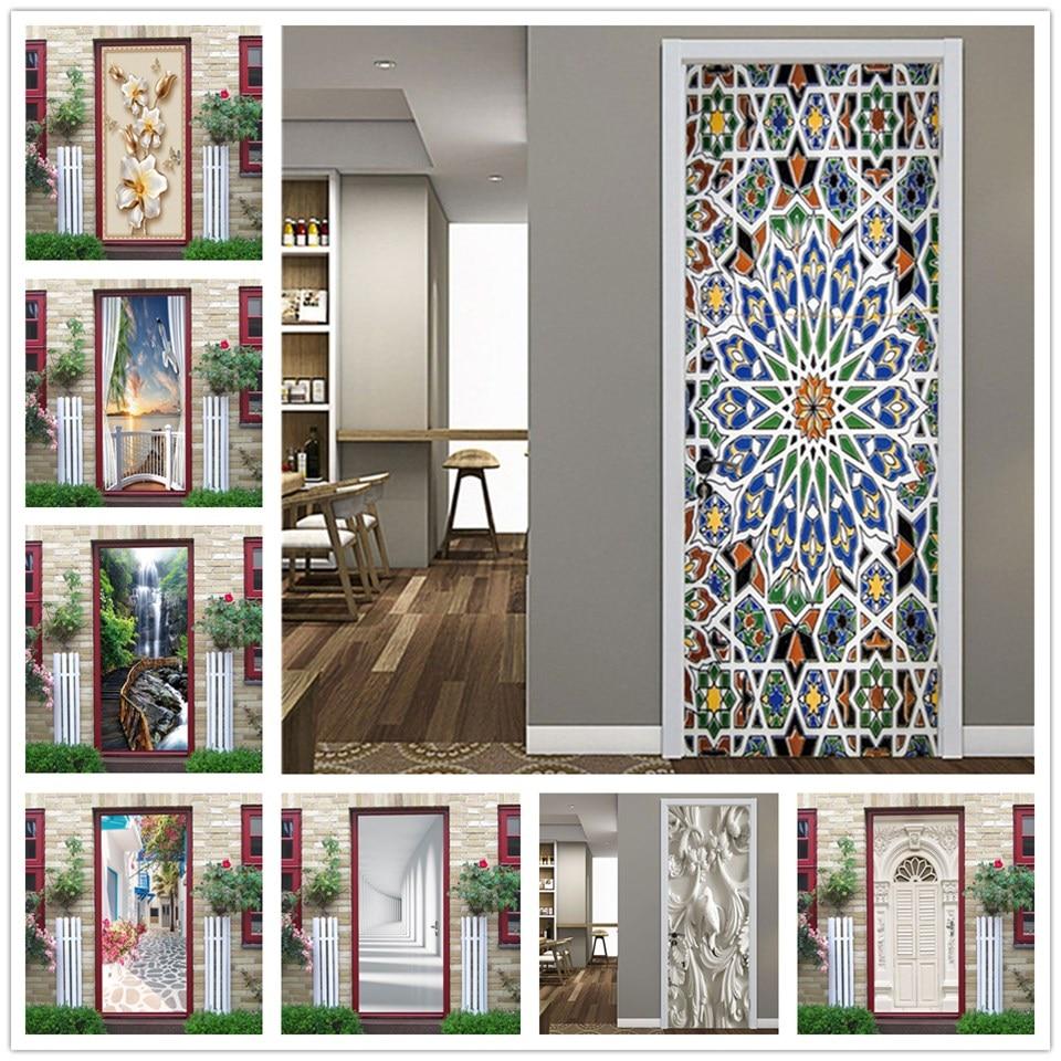 Kaleidoscope Door Stickers Self-adhesive Waterproof Removable Wallpaper Home Design Wall Art Mural Decal Room Decor Deur Sticker