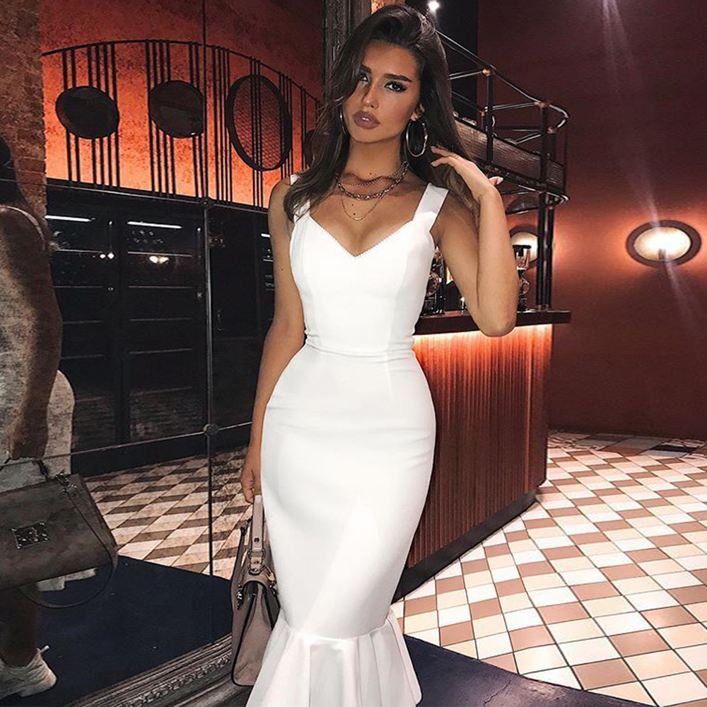 Ocstrade White Bandage Dres 2020 New Arrivals Summer Sexy Women Mermaid Bandage Dress Bodycon Celebrity Evening Party Club Dress