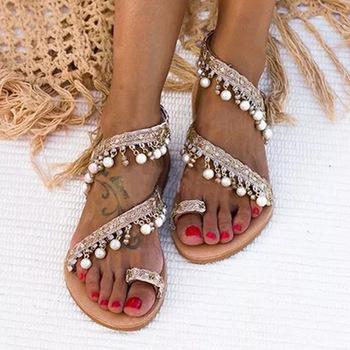 Sandały damskie Gladiator 2021 letnie obuwie Bohemia Mujer buty ślubne miękkie płaskie klapki damskie sandały plażowe tanie i dobre opinie LZXGSJ Sztuczna skóra CN (pochodzenie) Mieszkanie z Otwarta RUBBER Mieszkanie (≤1cm) Na co dzień Slip-on Pasuje prawda na wymiar weź swój normalny rozmiar